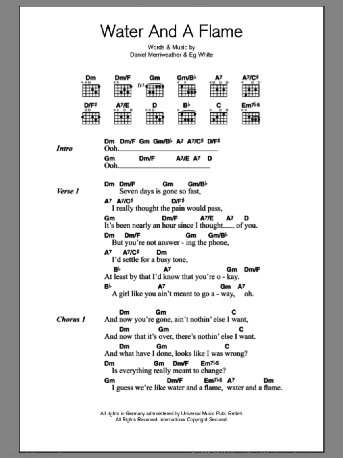 Water And A Flame sheet music for guitar (chords, lyrics, melody) by Eg White