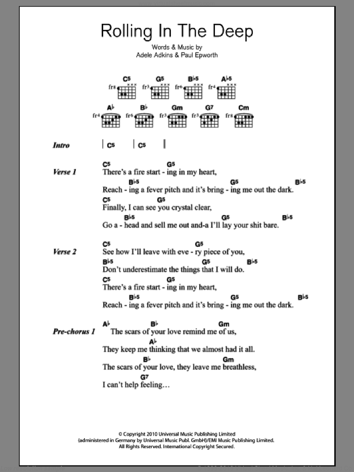 Rolling In The Deep sheet music for guitar (chords) by Adele, Adele Adkins and Paul Epworth, intermediate. Score Image Preview.