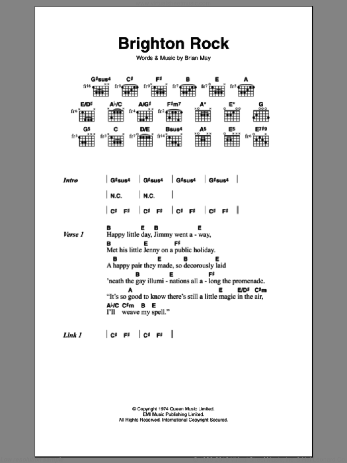 Brighton Rock sheet music for guitar (chords) by Brian May