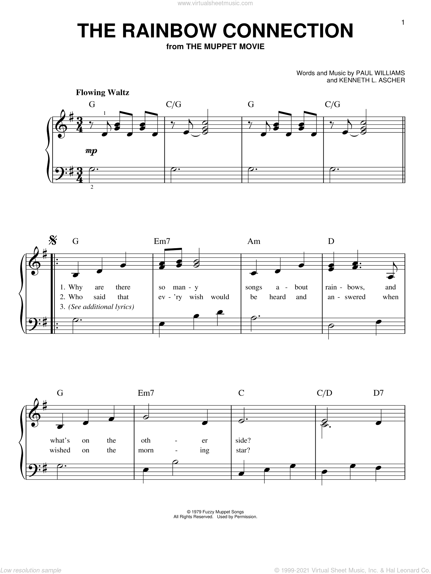 The Rainbow Connection sheet music for piano solo by Kermit The Frog, Kenneth L. Ascher and Paul Williams, easy skill level