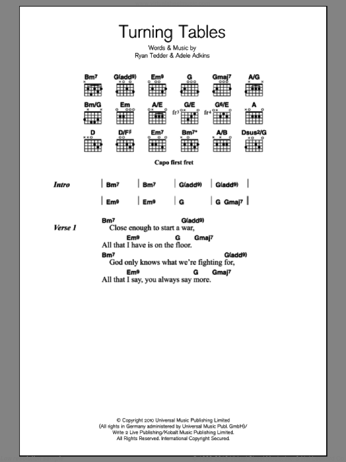 Turning Tables sheet music for guitar (chords) by Adele, Adele Adkins and Ryan Tedder, intermediate. Score Image Preview.