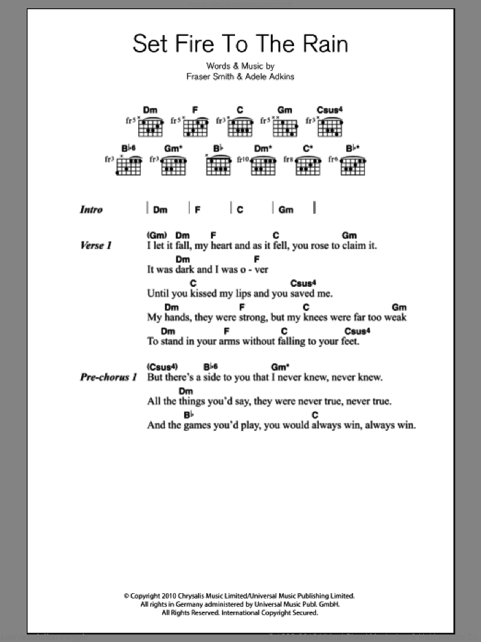 Set Fire To The Rain sheet music for guitar (chords) by Fraser T. Smith, Adele and Adele Adkins. Score Image Preview.