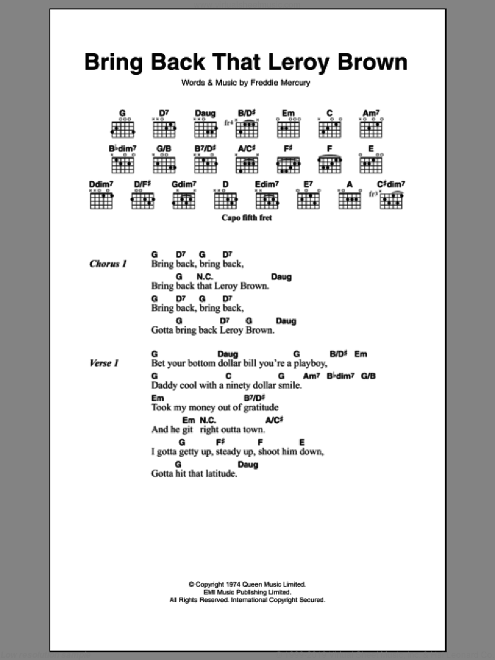 Bring Back That Leroy Brown sheet music for guitar (chords) by Frederick Mercury and Queen. Score Image Preview.