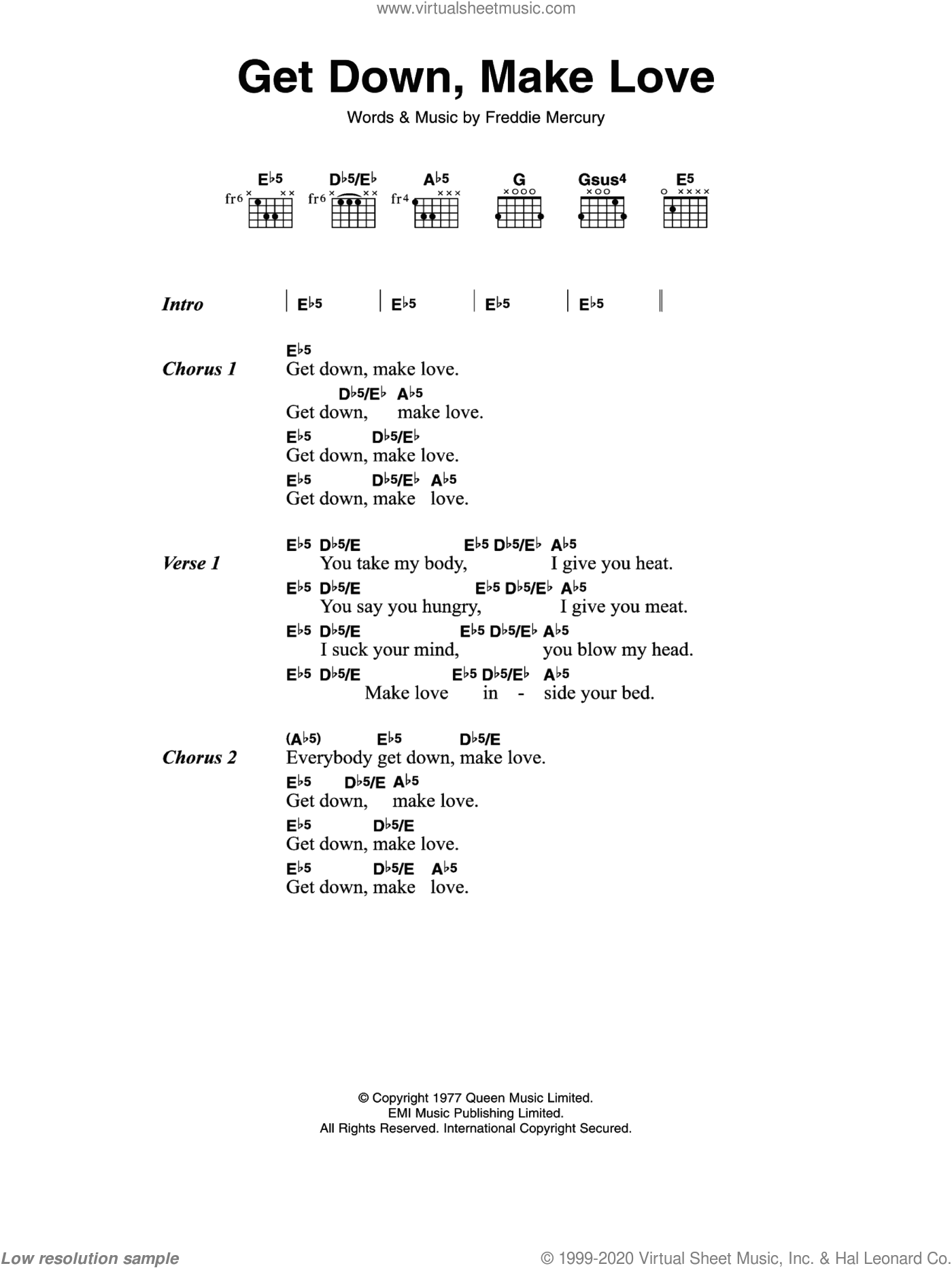 Get Down, Make Love sheet music for guitar (chords) by Frederick Mercury