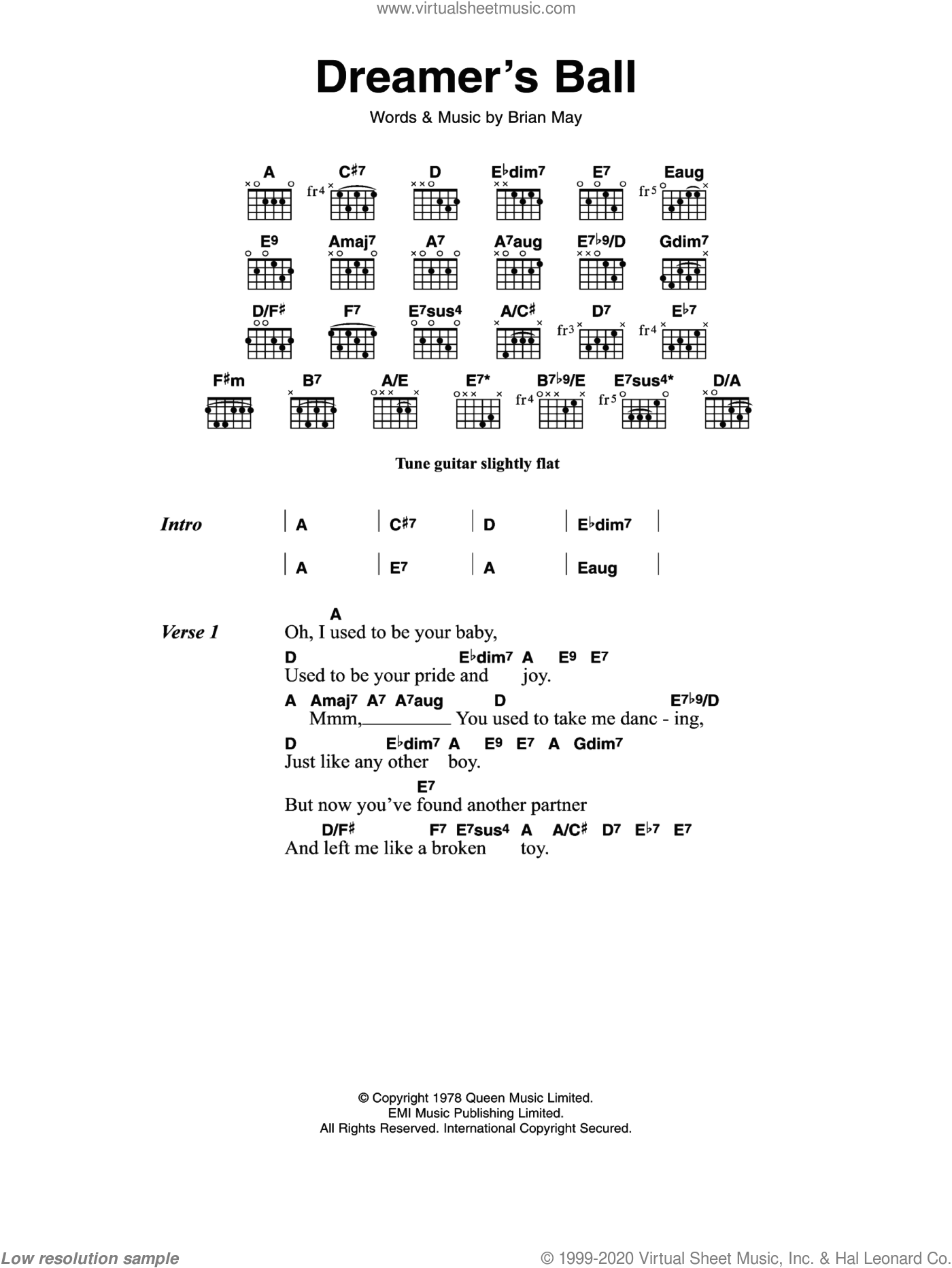 Dreamer's Ball sheet music for guitar (chords) by Queen, intermediate. Score Image Preview.