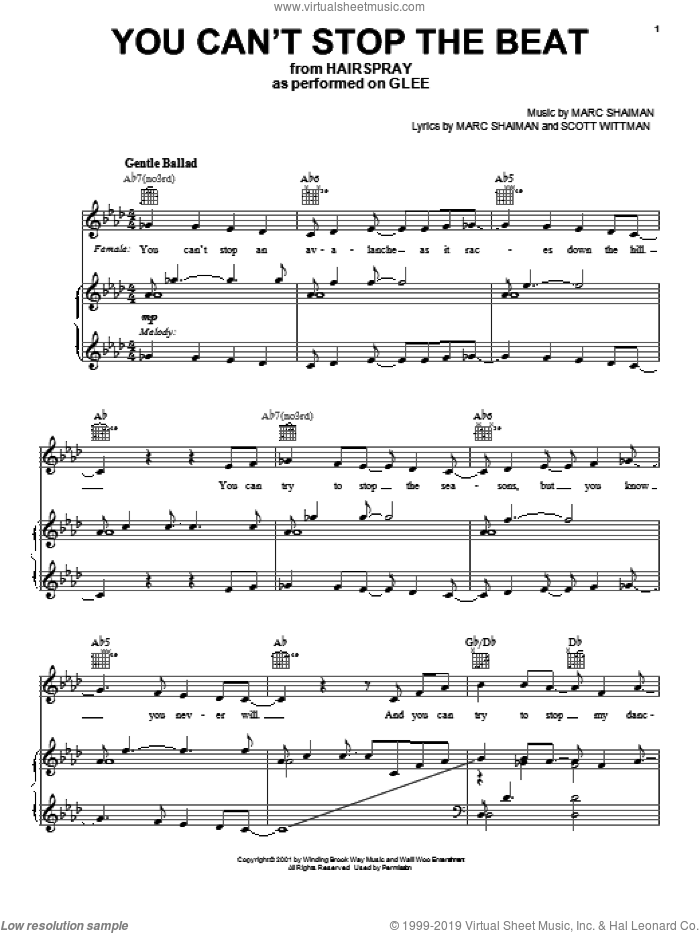 You Can't Stop The Beat sheet music for voice, piano or guitar by Glee Cast, Hairspray (Musical), Marc Shaiman, Miscellaneous and Scott Wittman, intermediate skill level