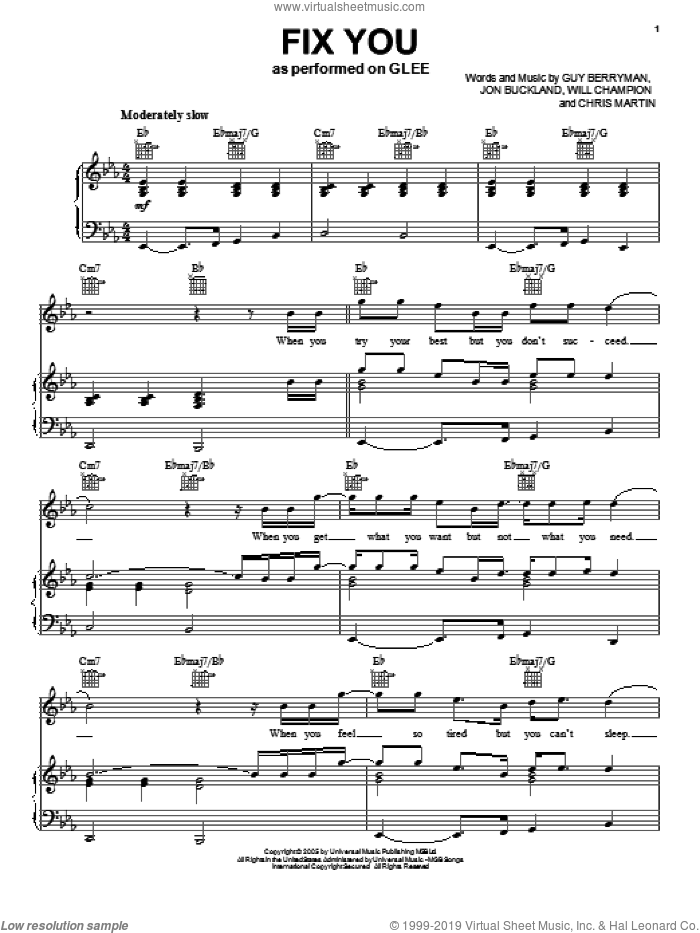 Fix You sheet music for voice, piano or guitar by Glee Cast, Coldplay, Chris Martin, Guy Berryman, Jon Buckland, Miscellaneous and Will Champion, intermediate skill level