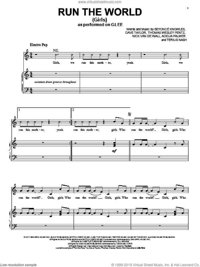 Run The World (Girls) sheet music for voice, piano or guitar by Thomas Wesley Pentz