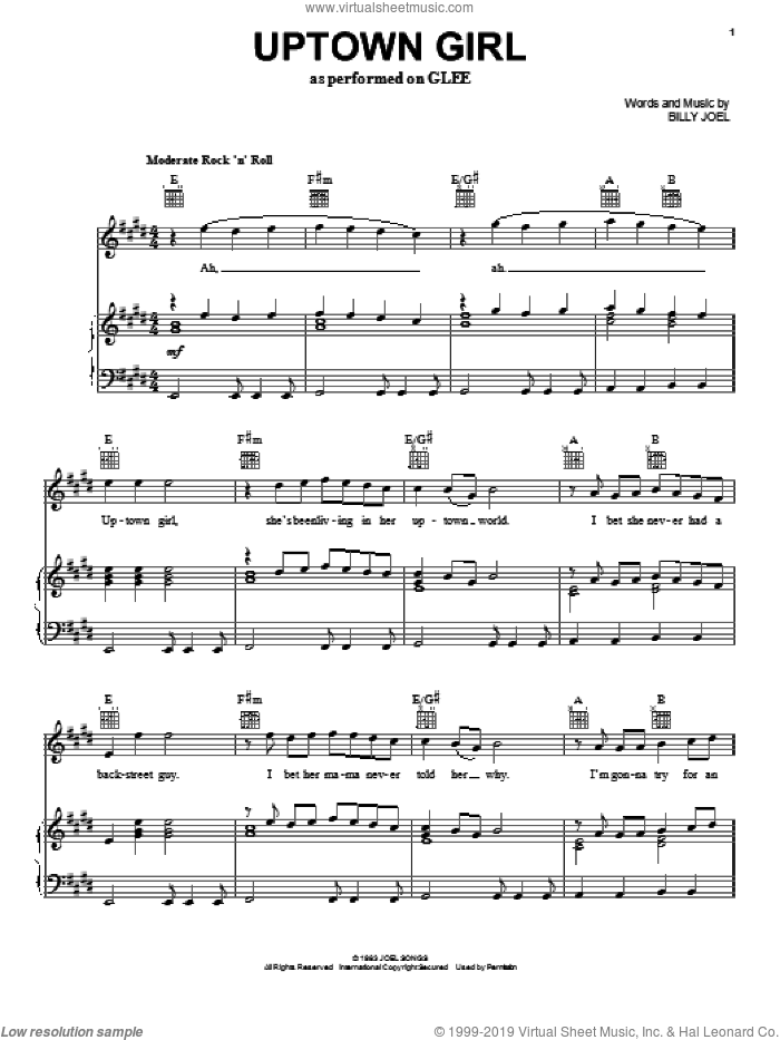 Uptown Girl sheet music for voice, piano or guitar by Glee Cast, Billy Joel and Miscellaneous, intermediate. Score Image Preview.