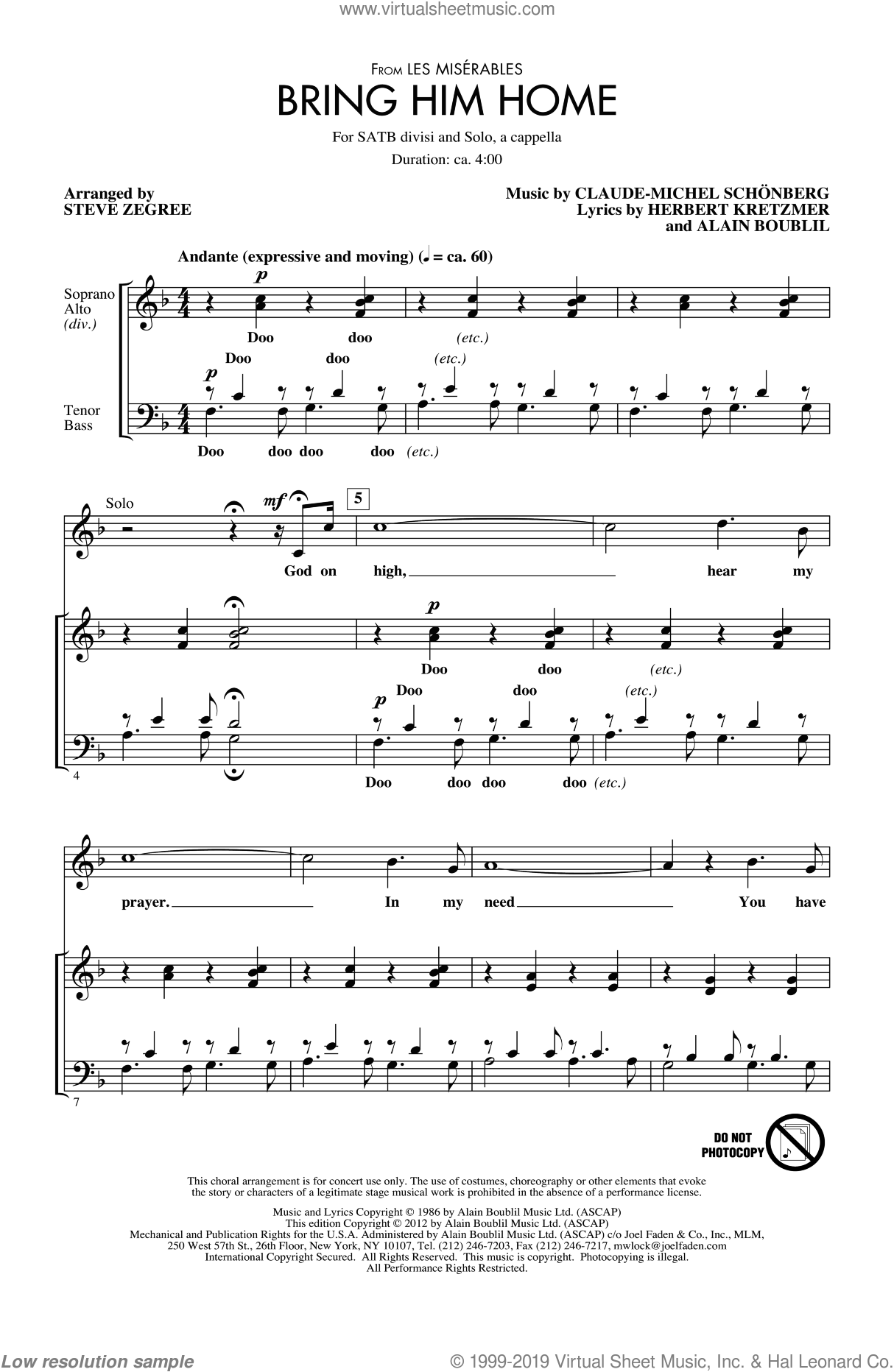 Bring Him Home sheet music for choir (SATB) by Alain Boublil, Claude-Michel Schonberg, Herbert Kretzmer, Les Miserables (Musical) and Steve Zegree. Score Image Preview.