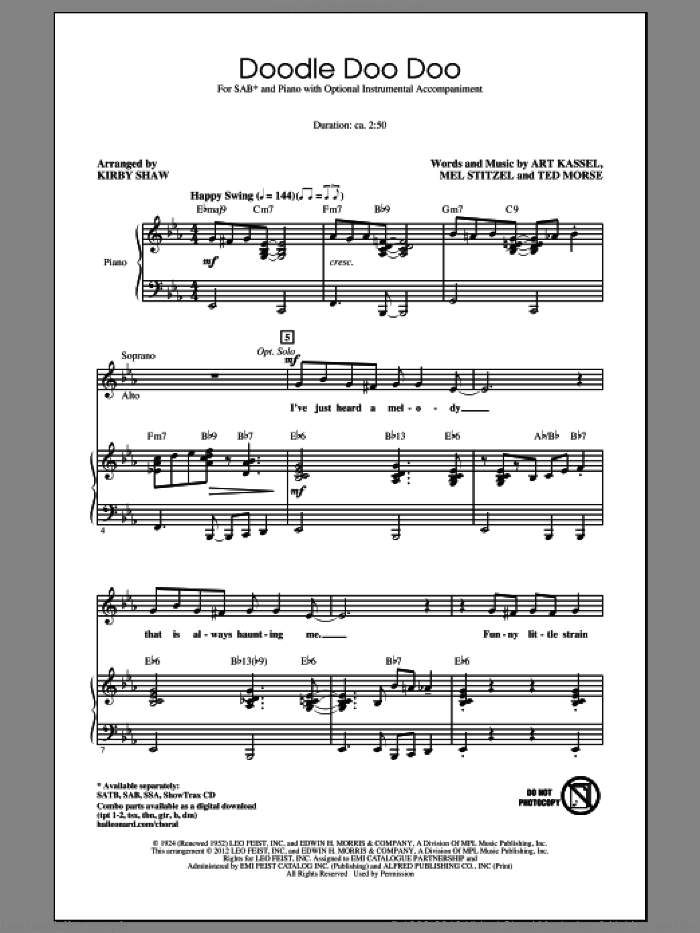 Doodle Doo Doo sheet music for choir (SAB: soprano, alto, bass) by Kirby Shaw, intermediate. Score Image Preview.