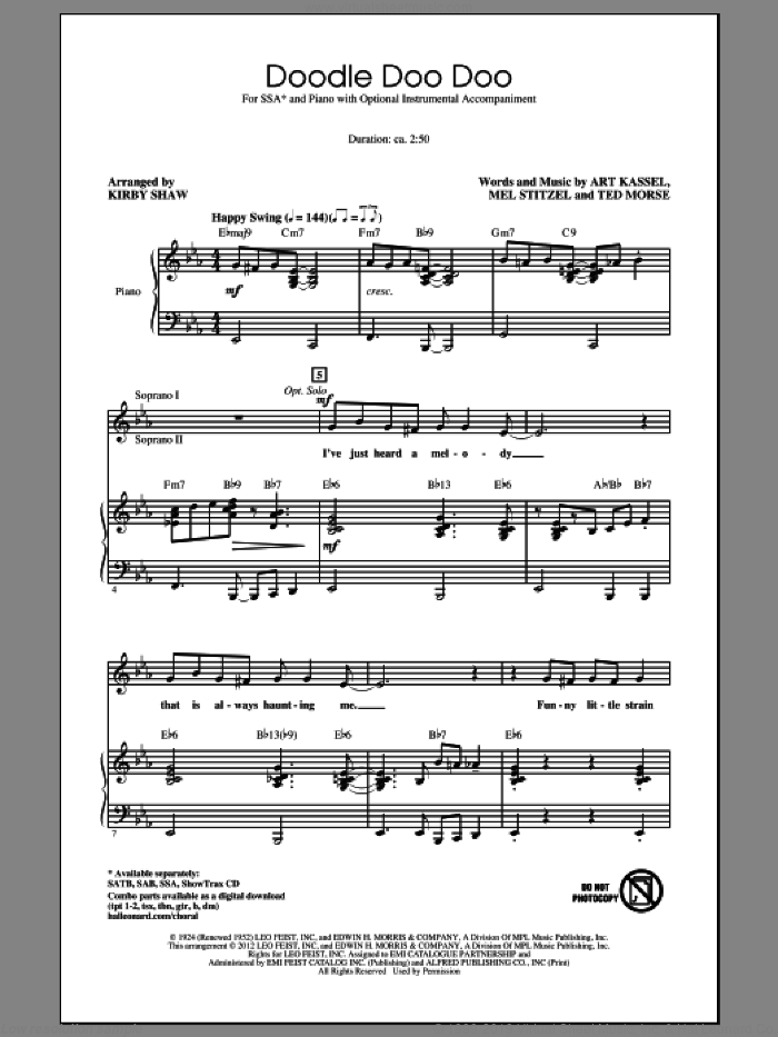 Doodle Doo Doo sheet music for choir (soprano voice, alto voice, choir) by Kirby Shaw. Score Image Preview.