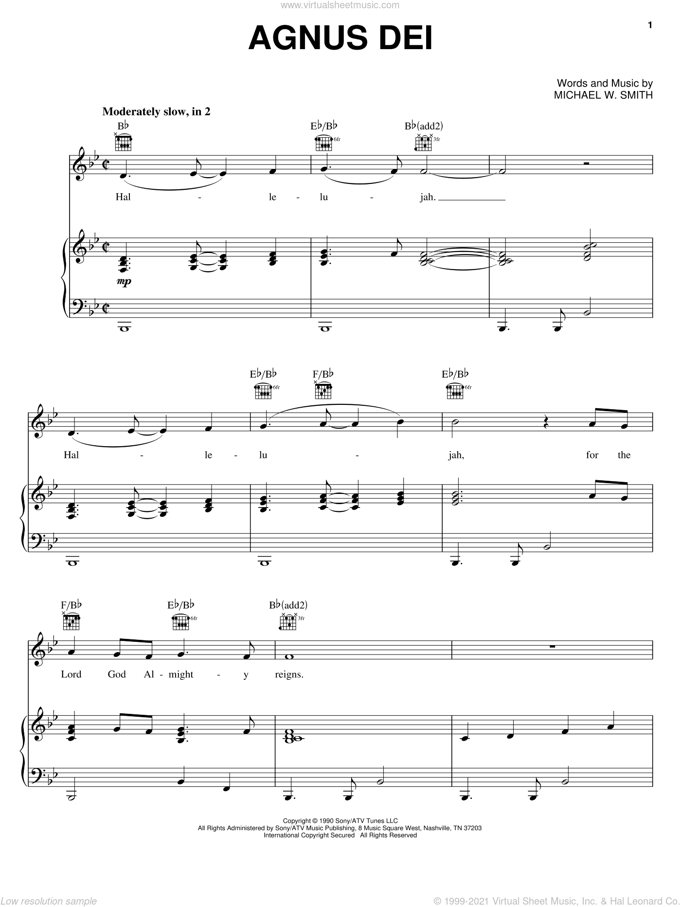 Agnus Dei sheet music for voice, piano or guitar by Donnie McClurkin and Michael W. Smith. Score Image Preview.