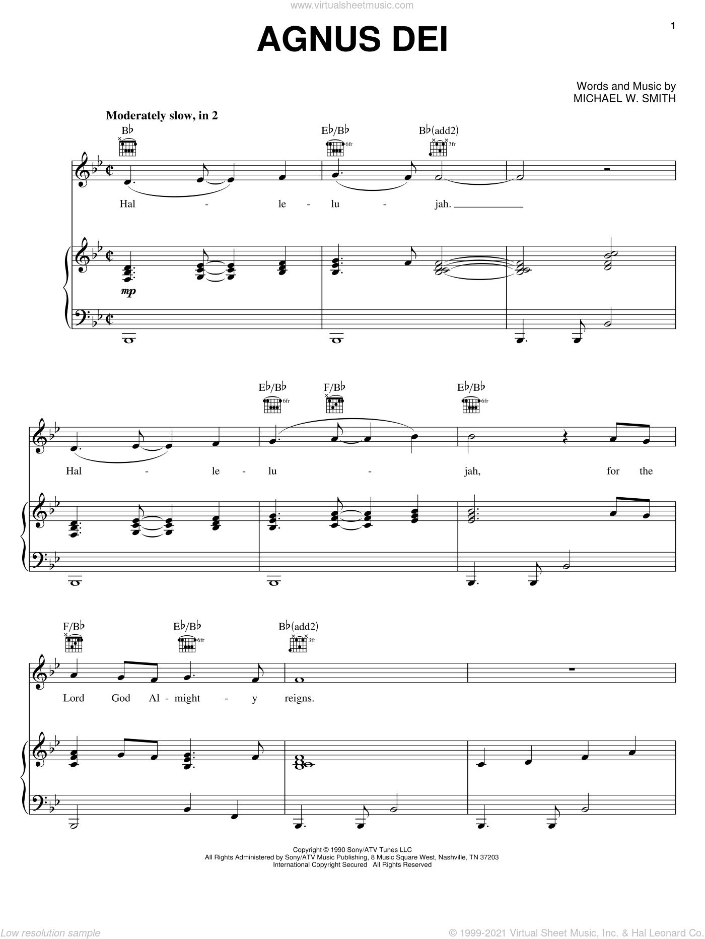 Agnus Dei sheet music for voice, piano or guitar by Donnie McClurkin and Michael W. Smith, intermediate skill level