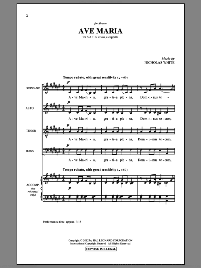 Ave Maria sheet music for choir (SATB: soprano, alto, tenor, bass) by Nicholas White, intermediate. Score Image Preview.