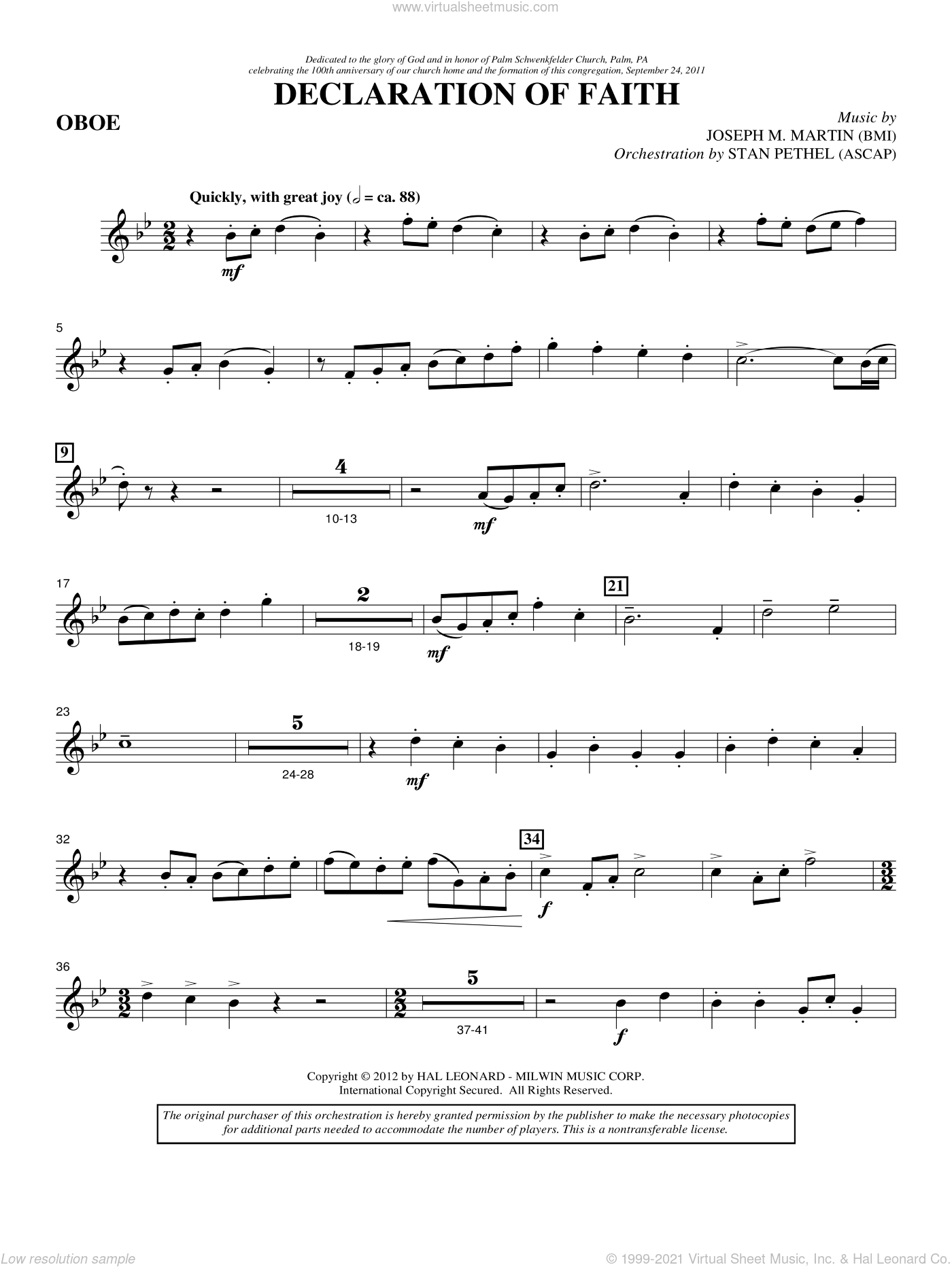 Declaration Of Faith sheet music for orchestra/band (oboe) by Joseph M. Martin