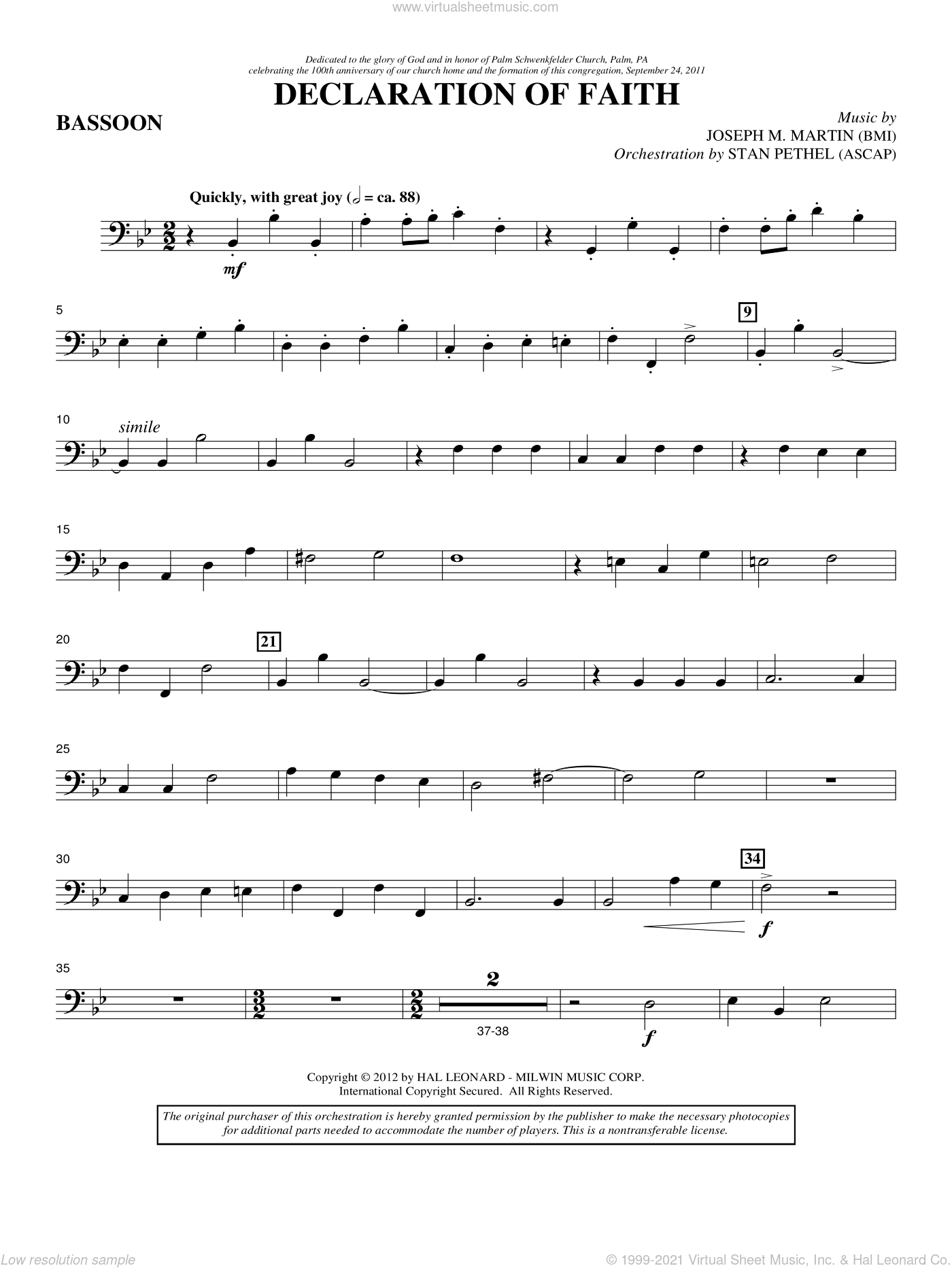 Declaration Of Faith sheet music for orchestra/band (bassoon) by Joseph M. Martin