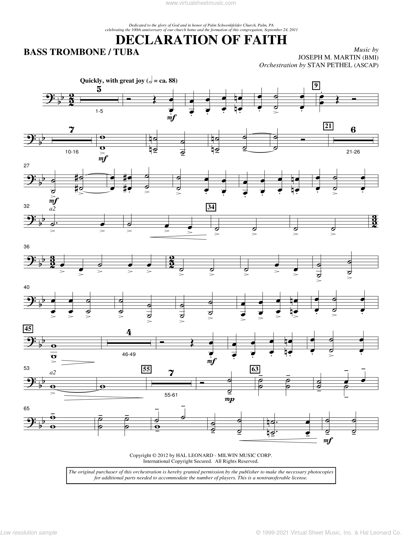Declaration Of Faith sheet music for orchestra/band (bass trombone/tuba) by Joseph M. Martin