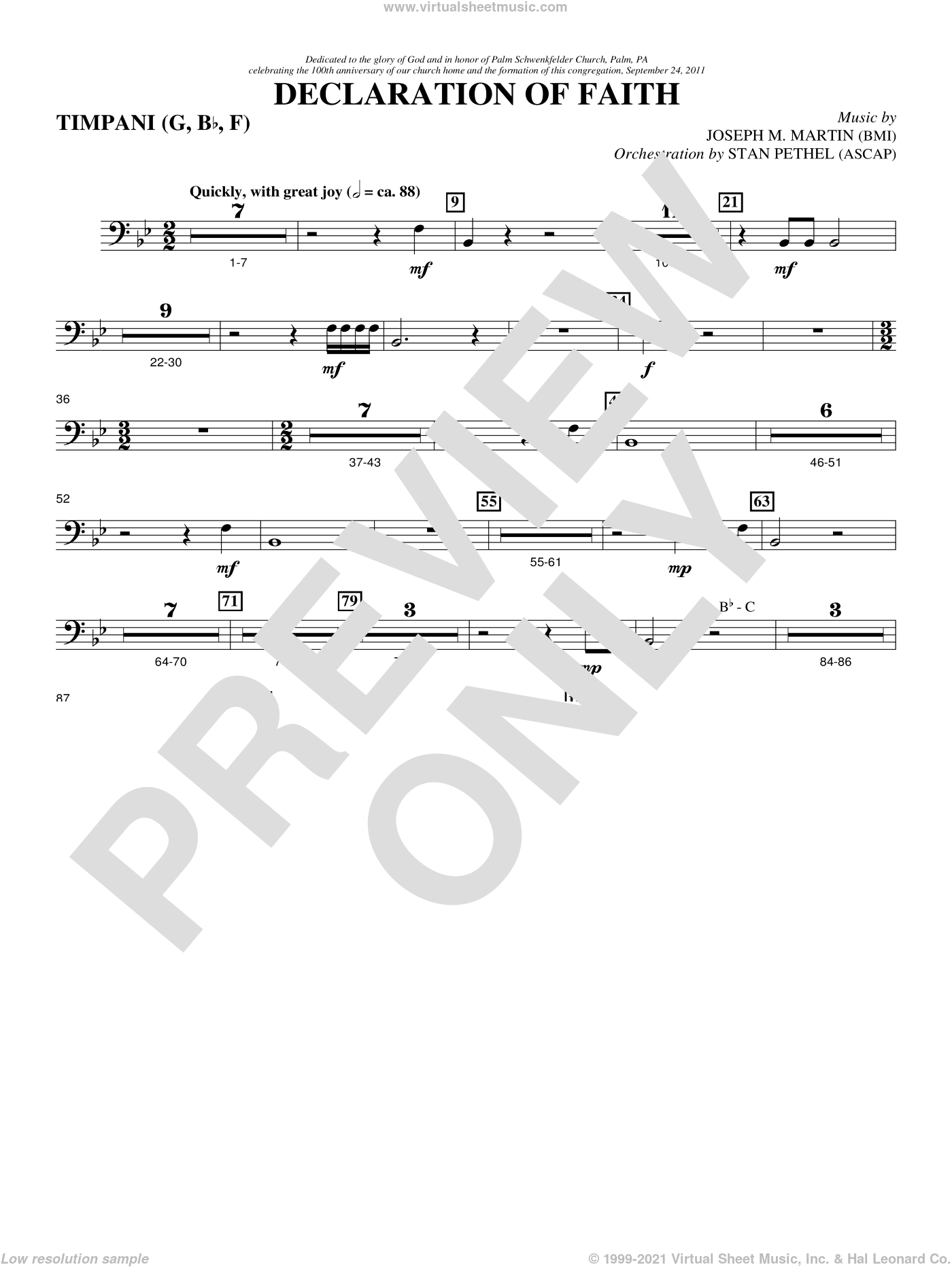 Declaration Of Faith sheet music for orchestra/band (timpani) by Joseph M. Martin