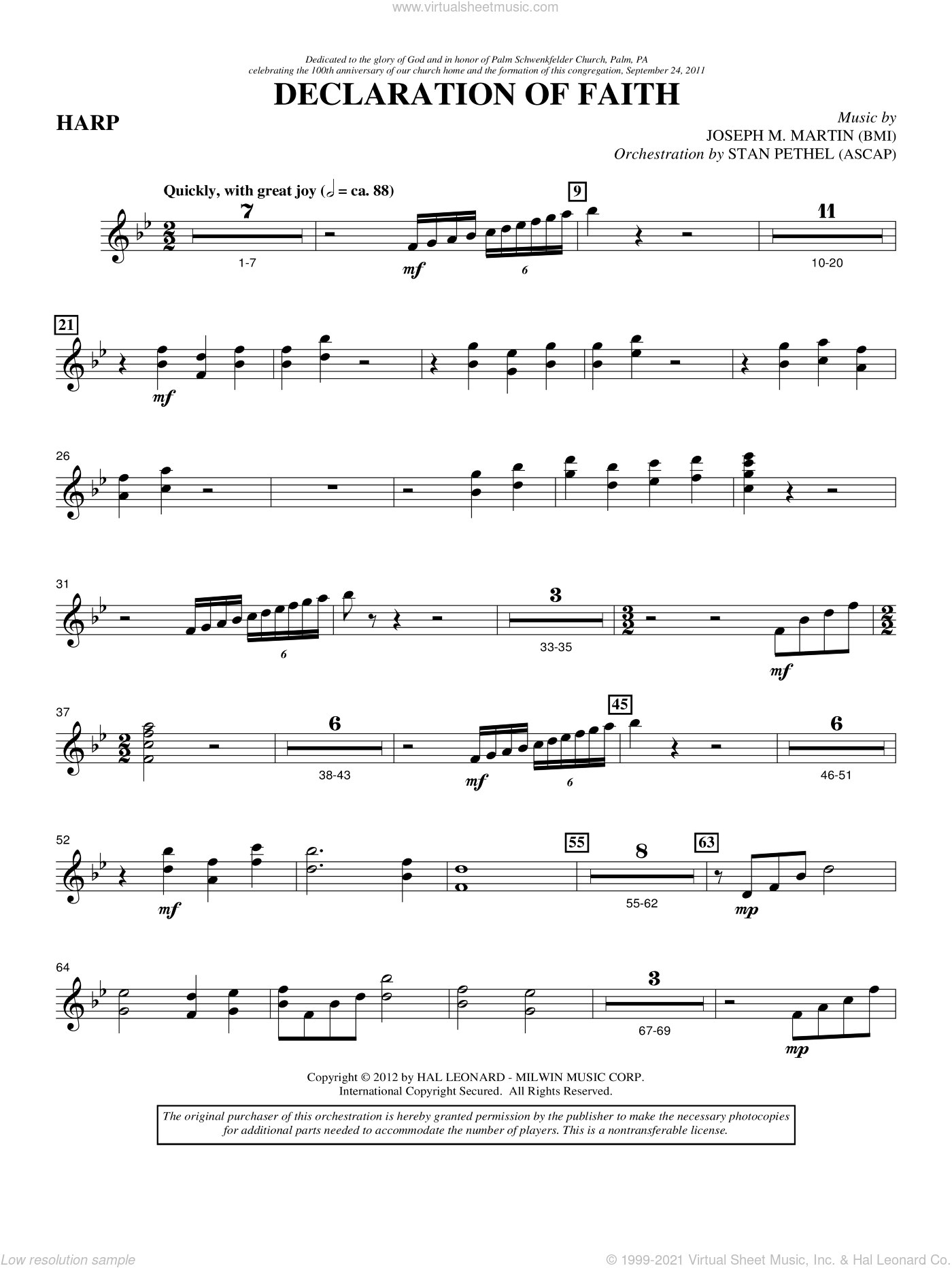 Declaration Of Faith sheet music for orchestra/band (harp) by Joseph M. Martin