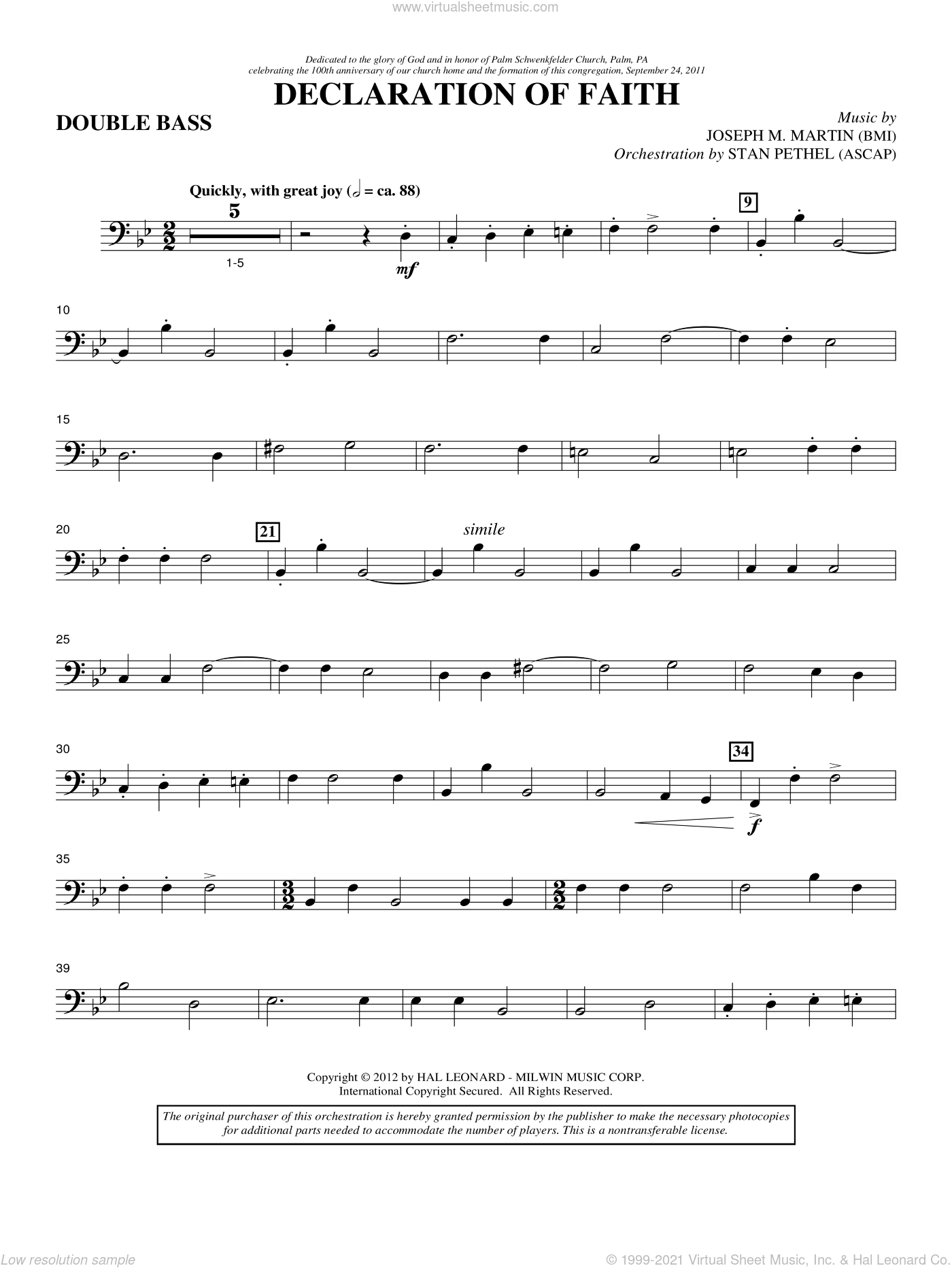Declaration Of Faith sheet music for orchestra/band (double bass) by Joseph M. Martin