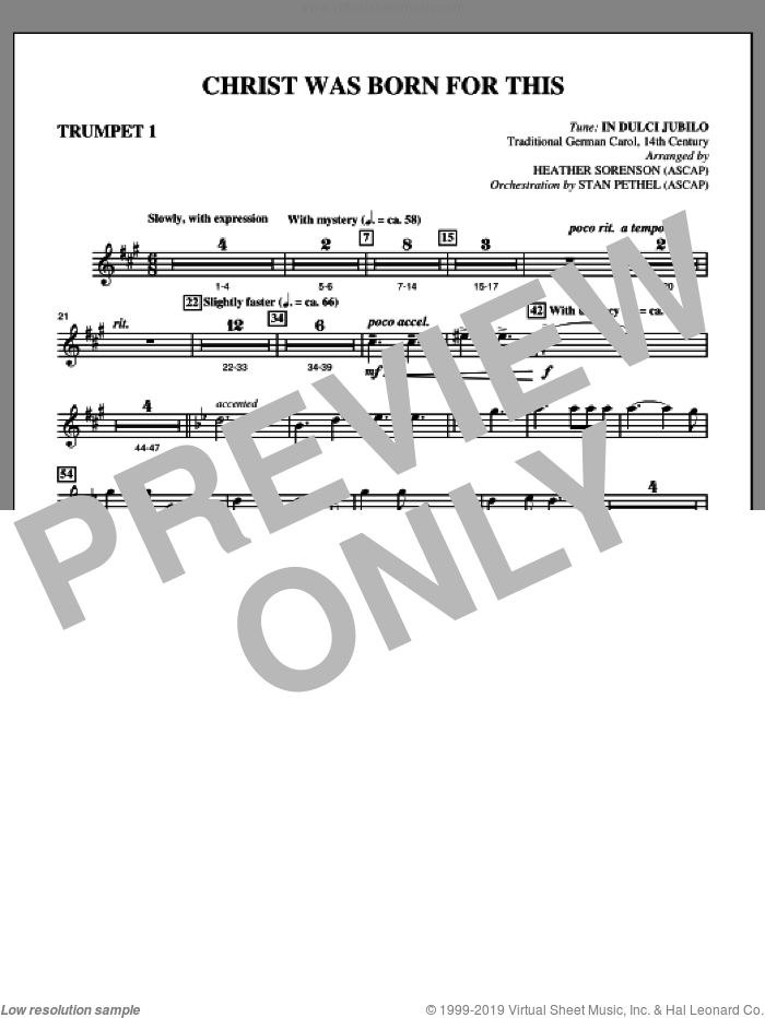Christ Was Born For This sheet music for orchestra/band (Bb trumpet 1) by Heather Sorenson