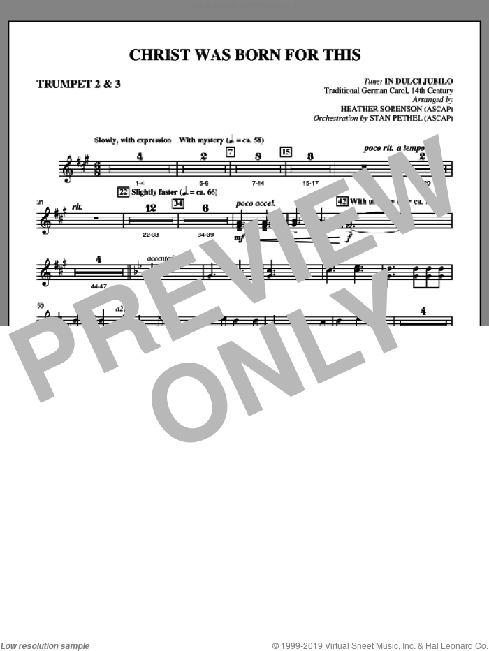 Christ Was Born For This sheet music for orchestra/band (Bb trumpet 2,3) by Heather Sorenson