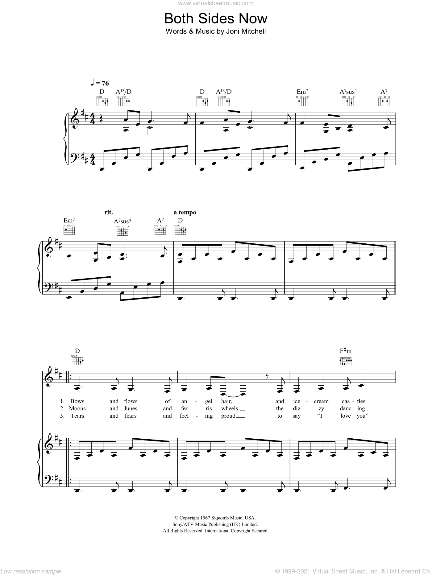 Both Sides Now sheet music for voice, piano or guitar by Joni Mitchell, intermediate skill level