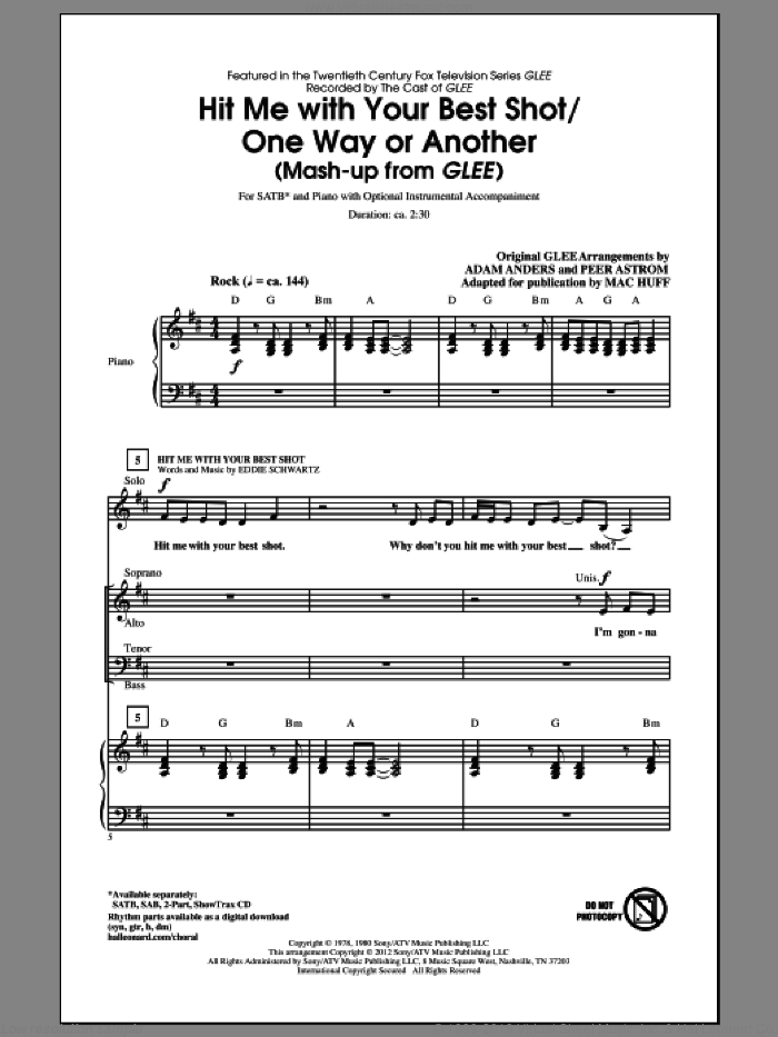 Hit Me With Your Best Shot / One Way Or Another sheet music for choir (SATB: soprano, alto, tenor, bass) by Mac Huff, Deborah Harry, Eddie Schwartz, Nigel Harrison, Adam Anders, Blondie, Glee Cast, Miscellaneous, Pat Benatar and Peer Astrom, intermediate. Score Image Preview.
