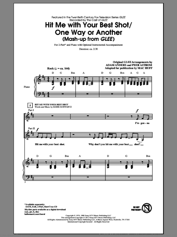 Hit Me With Your Best Shot / One Way Or Another sheet music for choir (duets) by Mac Huff, Eddie Schwartz, Blondie, Glee Cast, Miscellaneous, Pat Benatar and Peer Astrom, intermediate. Score Image Preview.