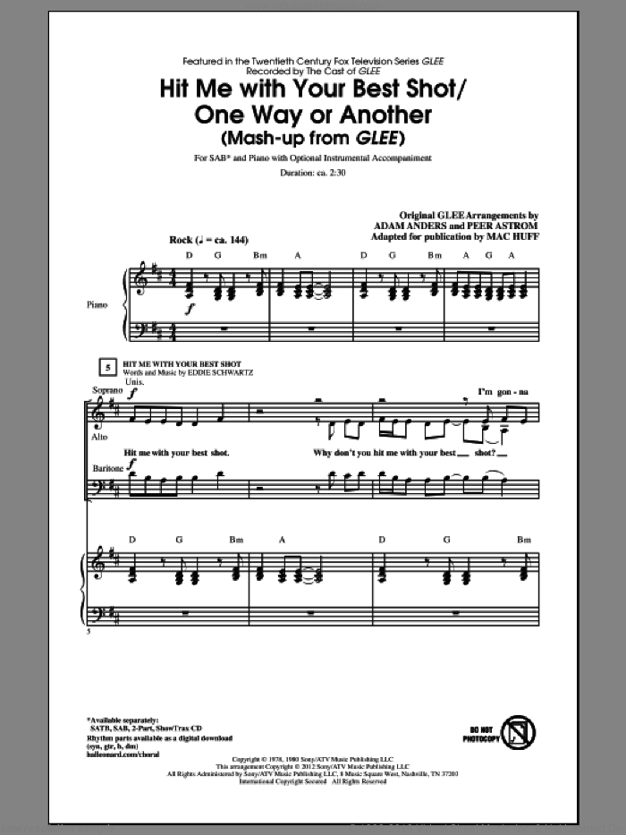 Hit Me With Your Best Shot / One Way Or Another sheet music for choir and piano (SAB) by Deborah Harry