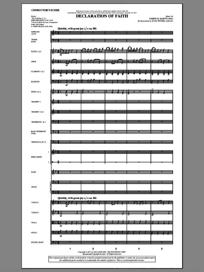 Declaration Of Faith (complete set of parts) sheet music for orchestra/band (Orchestra) by Joseph M. Martin, Edward Mote and John Mason Neale, intermediate. Score Image Preview.
