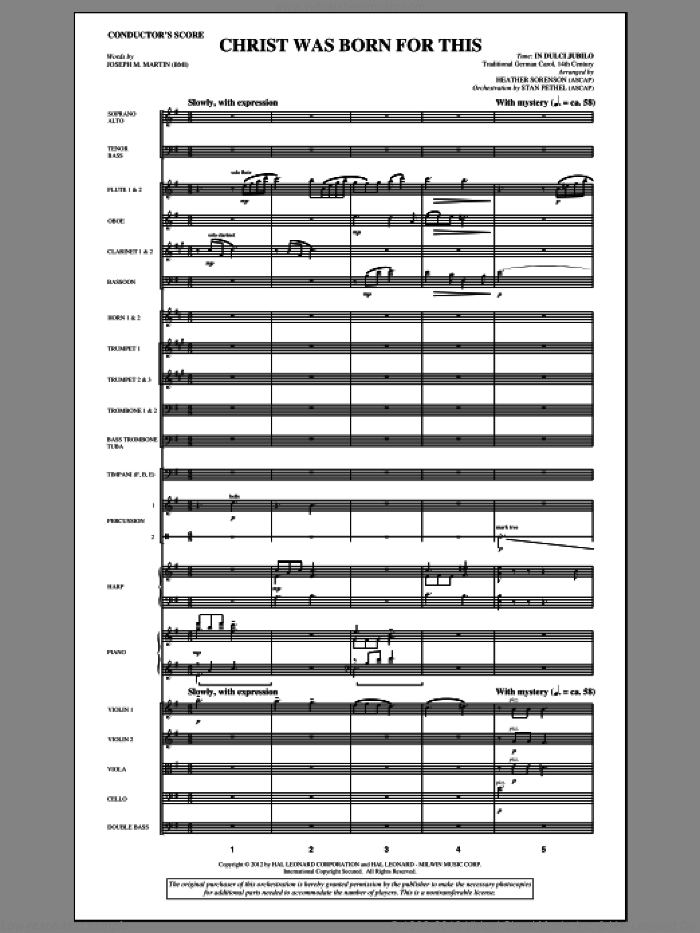 Christ Was Born For This (complete set of parts) sheet music for orchestra/band (Orchestra) by Heather Sorenson and Joseph M. Martin, intermediate skill level