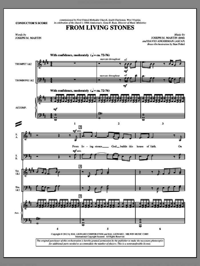From Living Stones (complete set of parts) sheet music for orchestra/band (Brass) by Joseph M. Martin and David Angerman, intermediate skill level