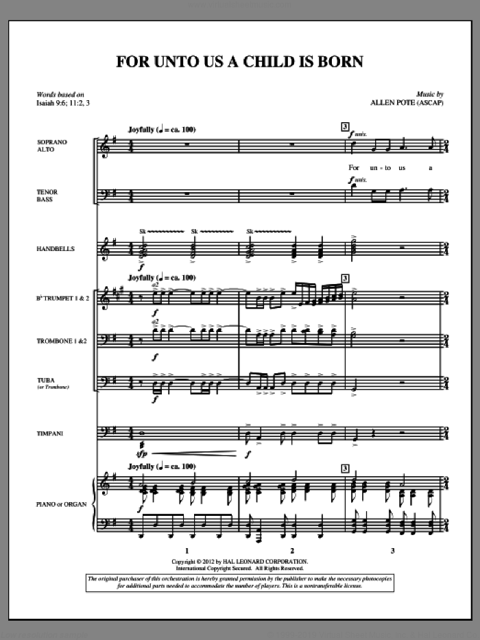 For Unto Us A Child Is Born (complete set of parts) sheet music for orchestra/band (Brass) by Allen Pote, intermediate. Score Image Preview.
