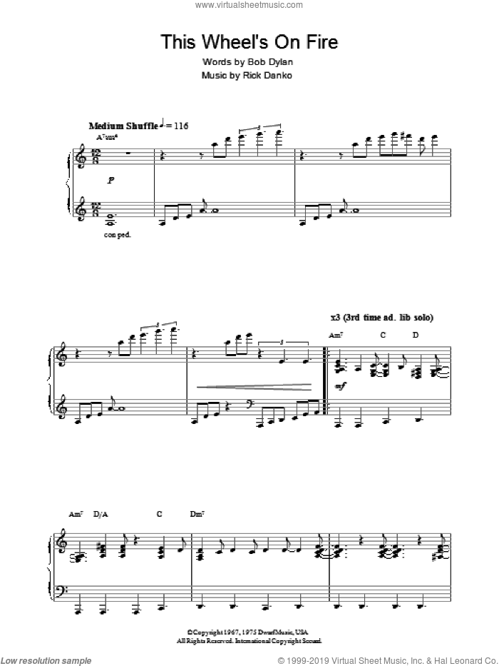 This Wheel's On Fire (theme from Absolutely Fabulous) sheet music for piano solo by Bob Dylan, The Band and Rick Danko, intermediate skill level