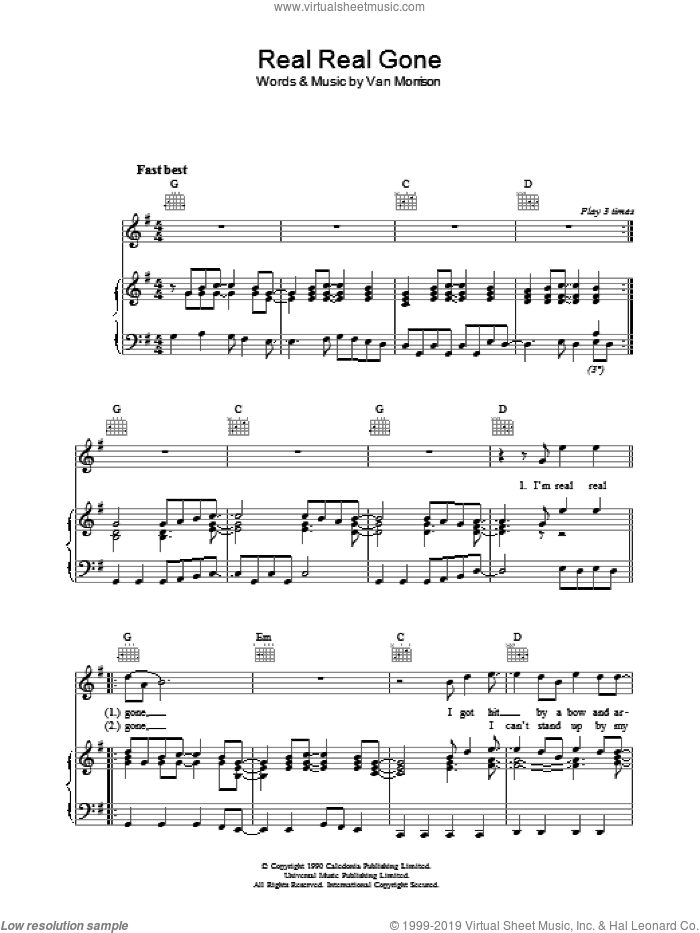 Real Real Gone sheet music for voice, piano or guitar by Van Morrison, intermediate