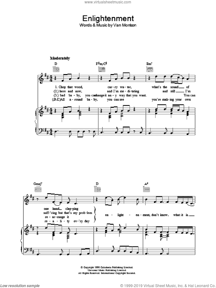 Enlightenment sheet music for voice, piano or guitar by Van Morrison. Score Image Preview.