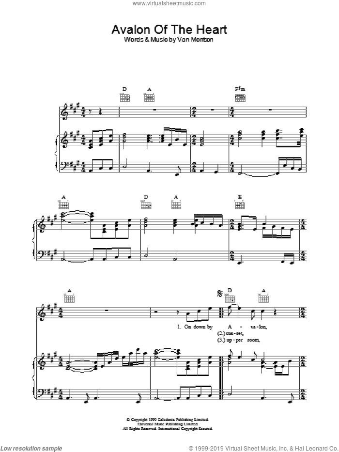 Avalon Of The Heart sheet music for voice, piano or guitar by Van Morrison. Score Image Preview.