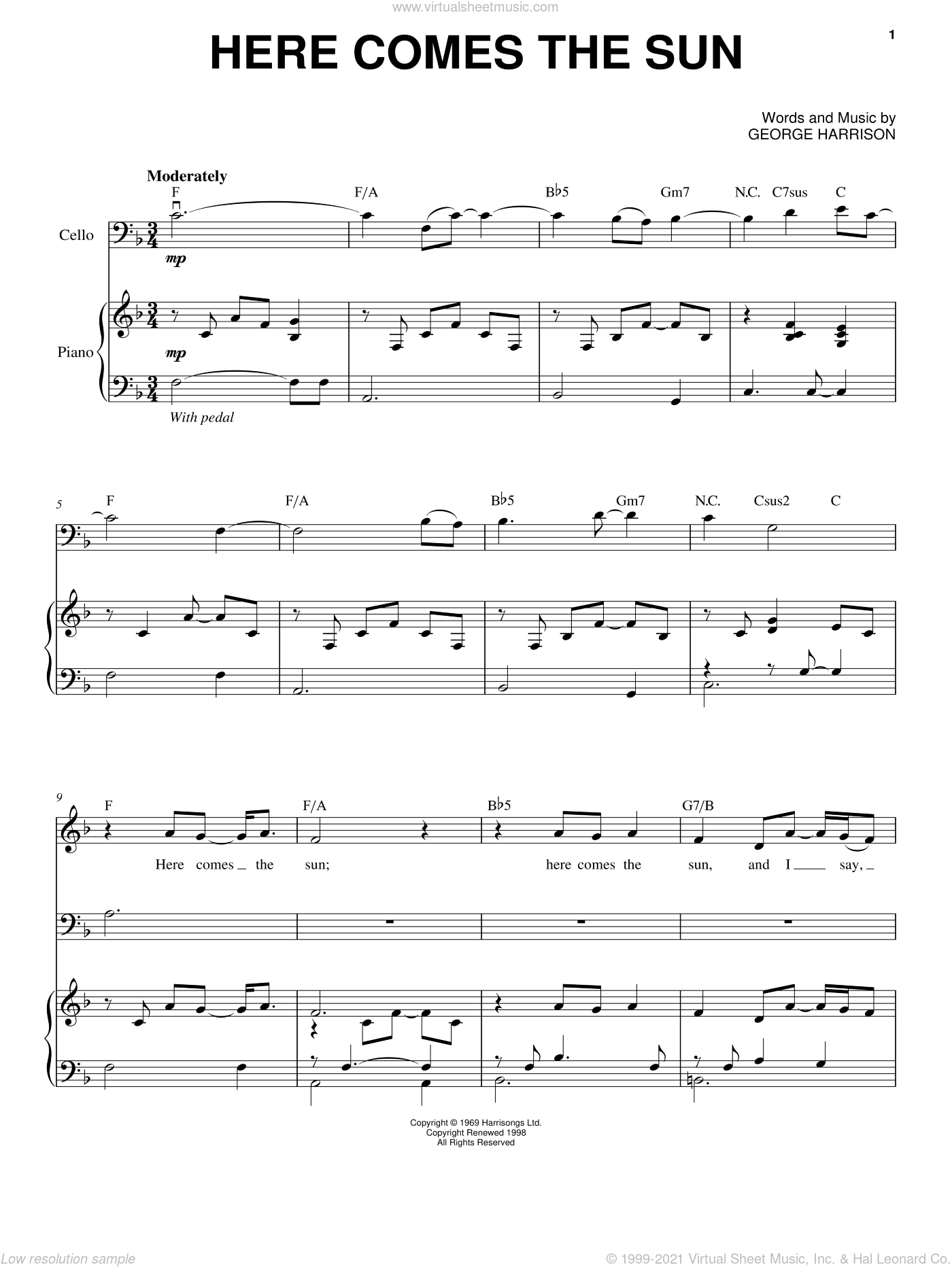 Here Comes The Sun sheet music for cello and piano by Yo-Yo Ma, The Beatles and George Harrison, classical score, intermediate skill level