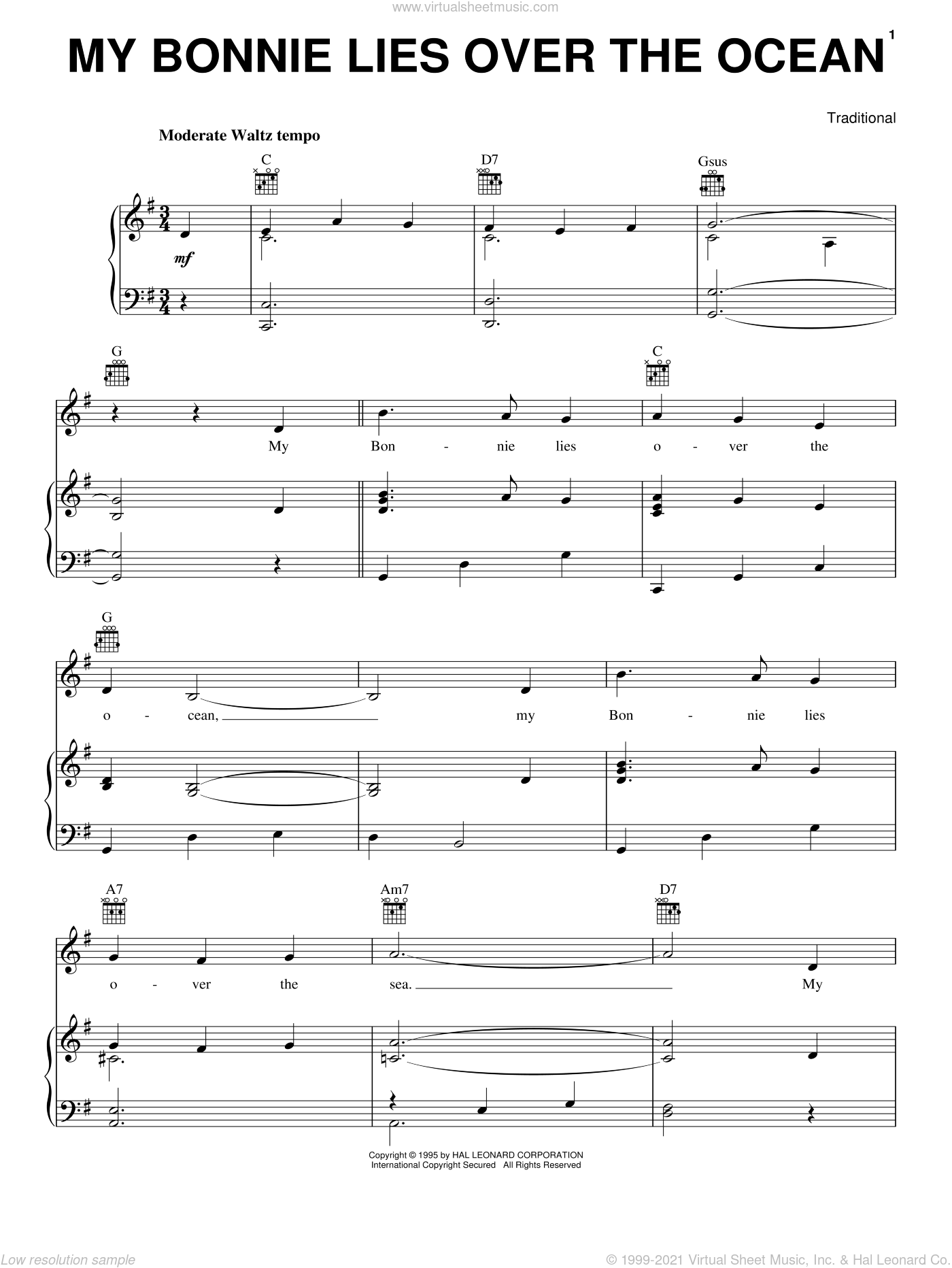 My Bonnie Lies Over The Ocean sheet music for voice, piano or guitar, intermediate skill level