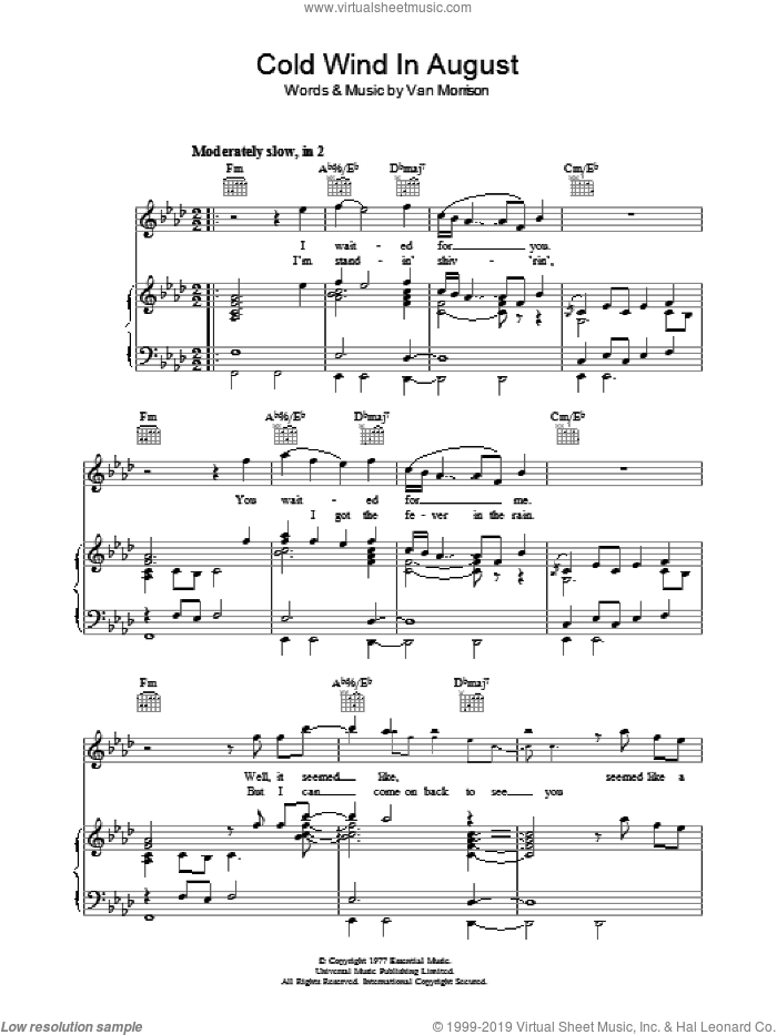 Cold Wind In August sheet music for voice, piano or guitar by Van Morrison. Score Image Preview.