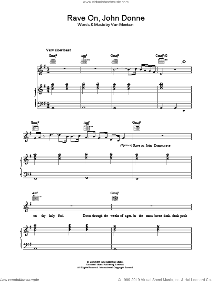 Rave On, John Donne sheet music for voice, piano or guitar by Van Morrison. Score Image Preview.
