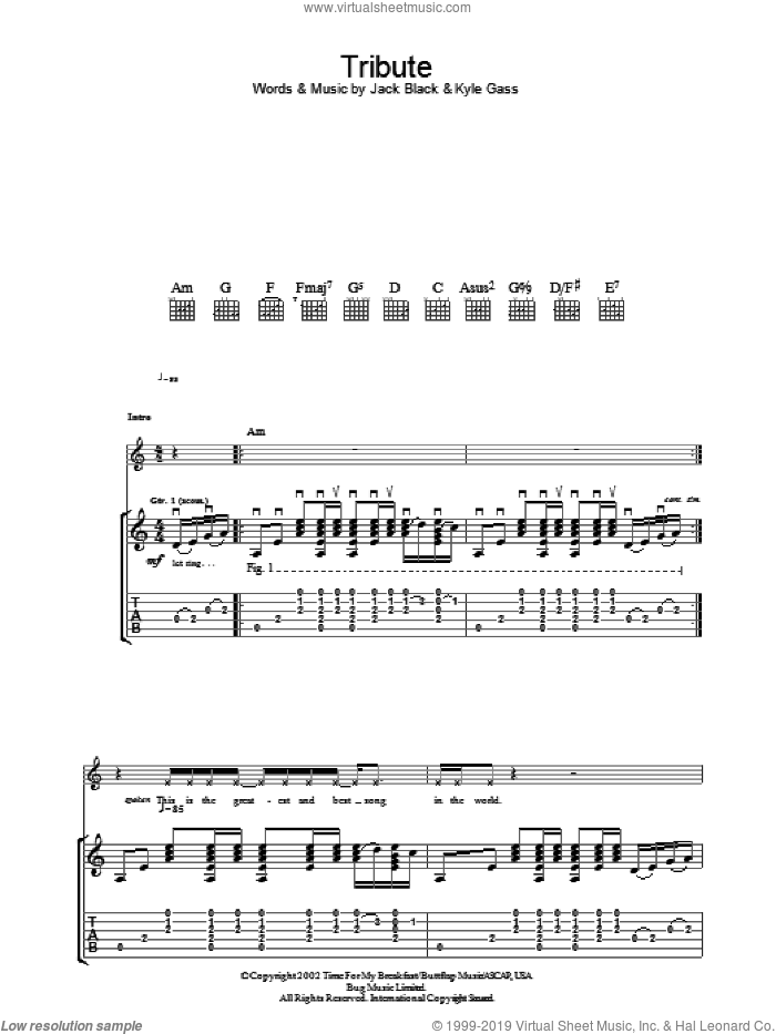 Tribute sheet music for guitar (tablature) by Tenacious D, Jack Black and Kyle Gass, intermediate skill level