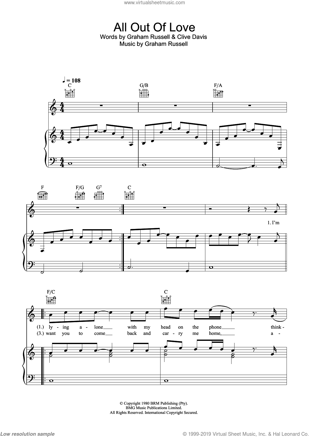 All Out Of Love sheet music for voice, piano or guitar by Air Supply. Score Image Preview.