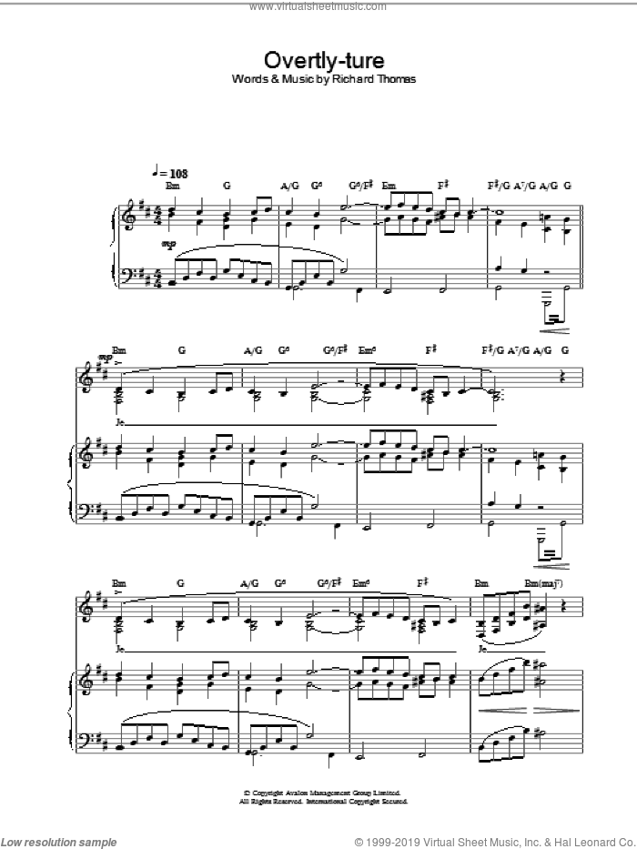 Overtly-ture (from Jerry Springer The Opera) sheet music for voice, piano or guitar by Richard Thomas, intermediate skill level