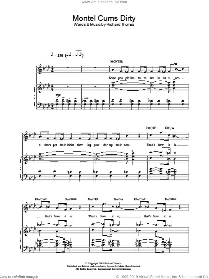 Montel Cums Dirty (from Jerry Springer The Opera) sheet music for voice, piano or guitar by Richard Thomas, intermediate. Score Image Preview.