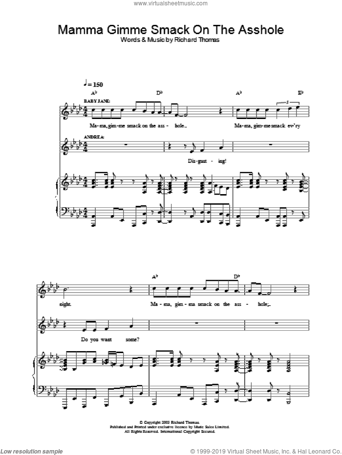 Mama Gimme Smack On The Asshole (from Jerry Springer The Opera) sheet music for voice, piano or guitar by Richard Thomas. Score Image Preview.