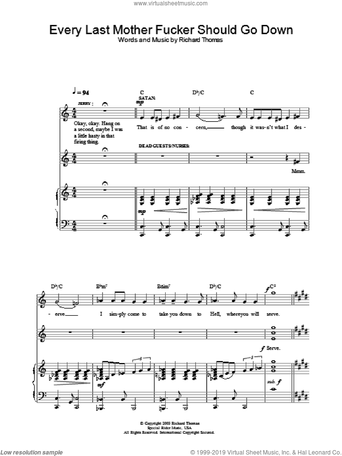 Every Last Mother Fucker Should Go Down (from Jerry Springer The Opera) sheet music for voice, piano or guitar by Richard Thomas. Score Image Preview.