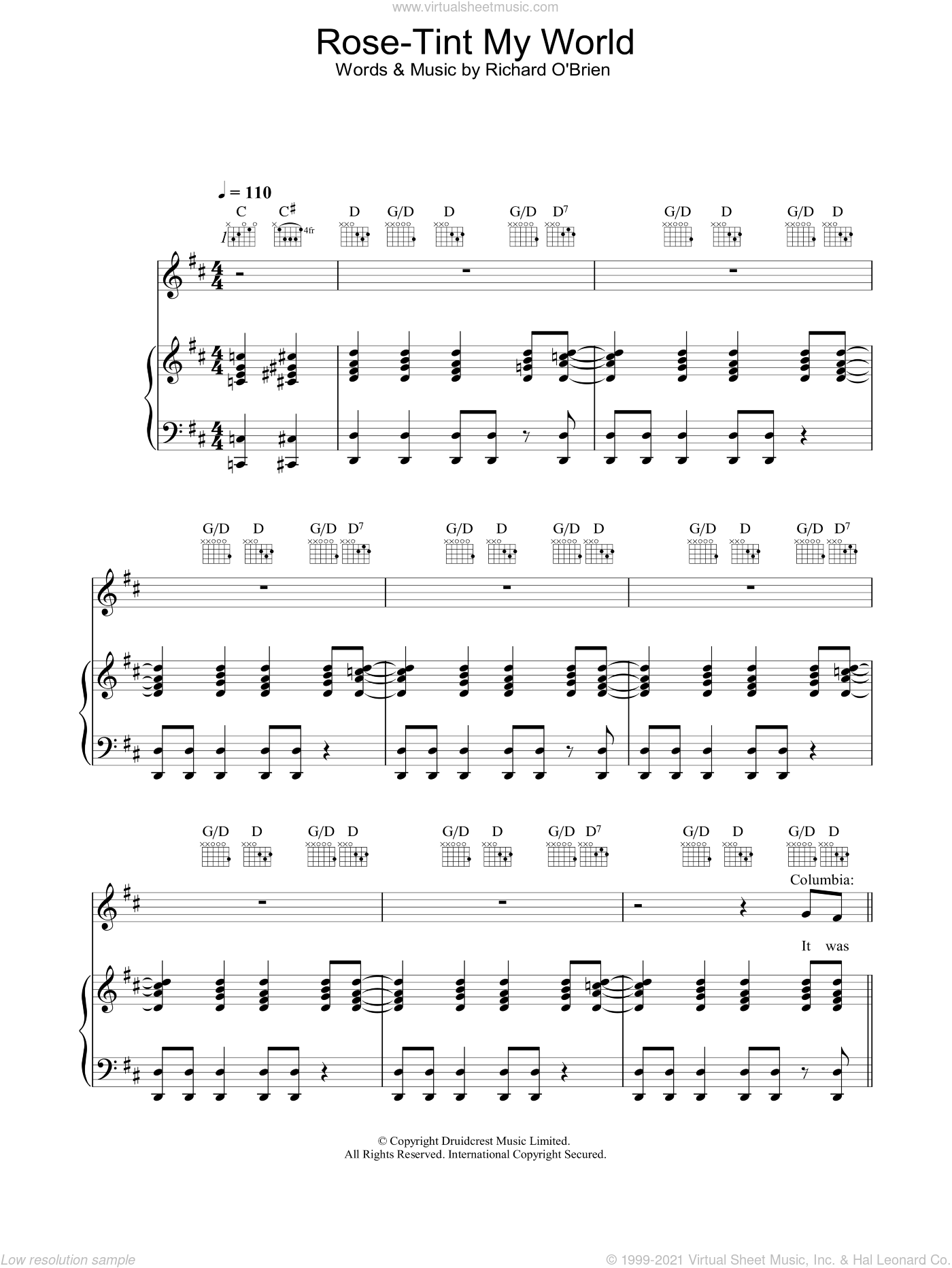 Rose Tint My World sheet music for voice, piano or guitar by Richard O'Brien. Score Image Preview.